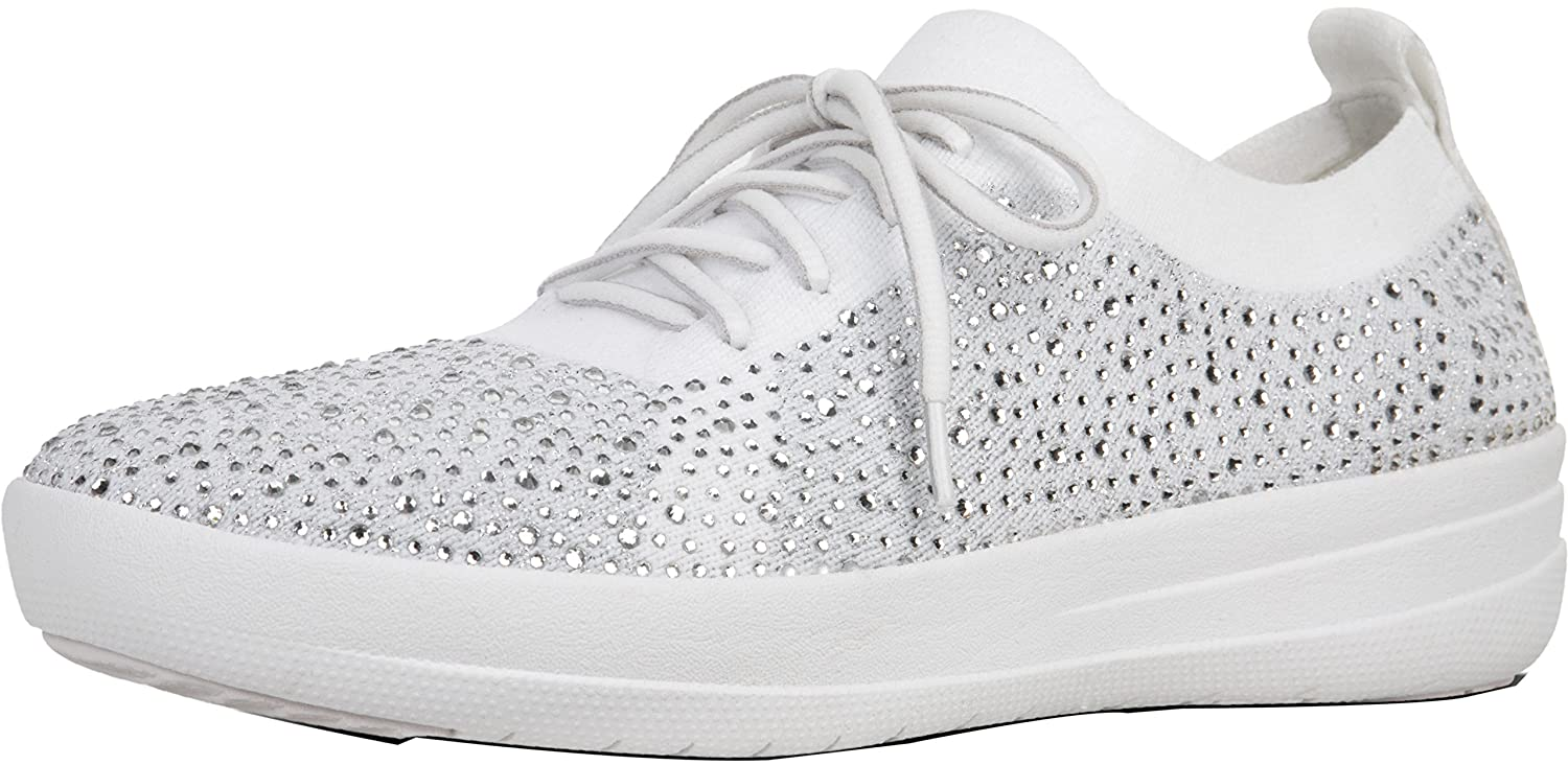 FitFlop Trade; F-Sporty™ Uberknit Sneakers - Crystal, Metallic Silver/Urban White, Size 8 B07C4XW92H Parent