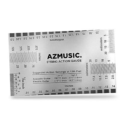 AZMUSIC Acción de Cuerdas, Medición Precisa de Guitarras Acústicas, Eléctricas y Bajos