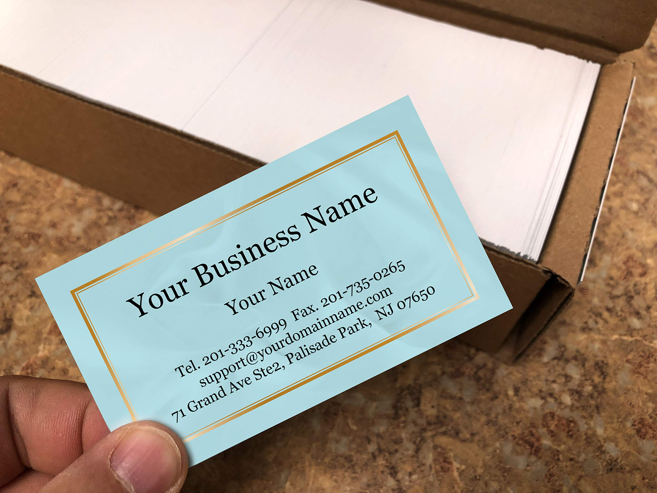 Custom Business Cards 500pcs- Modern Teal Image-16pt cover (129 lbs. 350gsm-Thick paper),Offset Printing, Made in The USA by IMPACTONLINEPRINTING (Image #2)