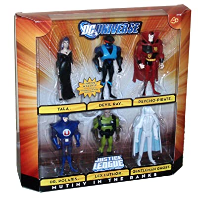 DC Universe Justice League Unlimited 6 Pack 4-1/2 Inch Tall Villain Action Figure - MUTINY IN THE RANKS with Tala, Devil Ray, Psycho-Pirate, Dr. Polaris, Lex Luthor and Gentleman Ghost: Toys & Games