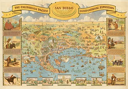 Vintage San Diego Map.Amazon Com Historic Map California Pacific International