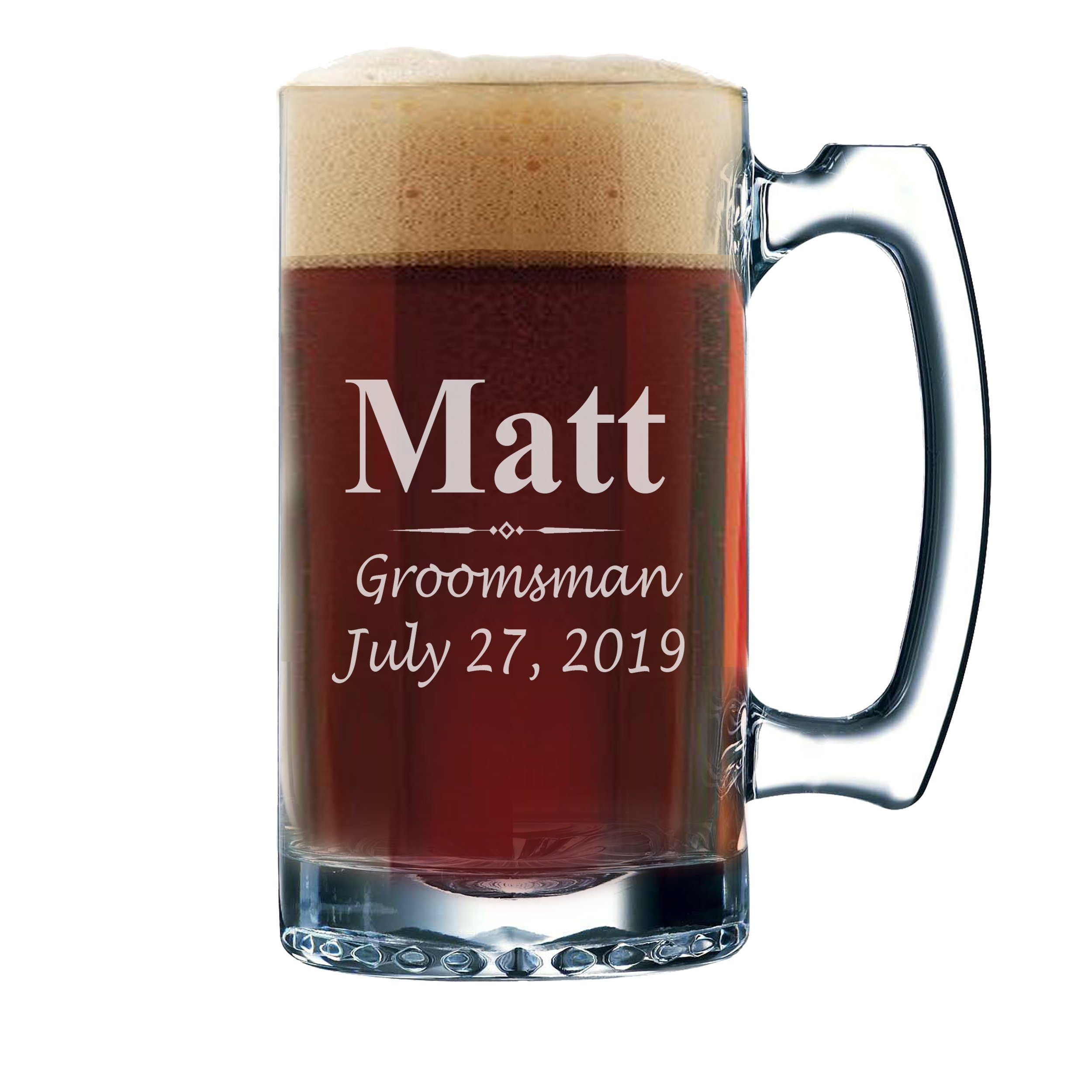 Set of 3, Set of 5 Set of 7 and more Personalized Groomsmen Beer Glasses - Custom Engraved Groom, Best Man Gift Mugs - 3 Lines Style 12 oz (8) by My Personal Memories (Image #2)
