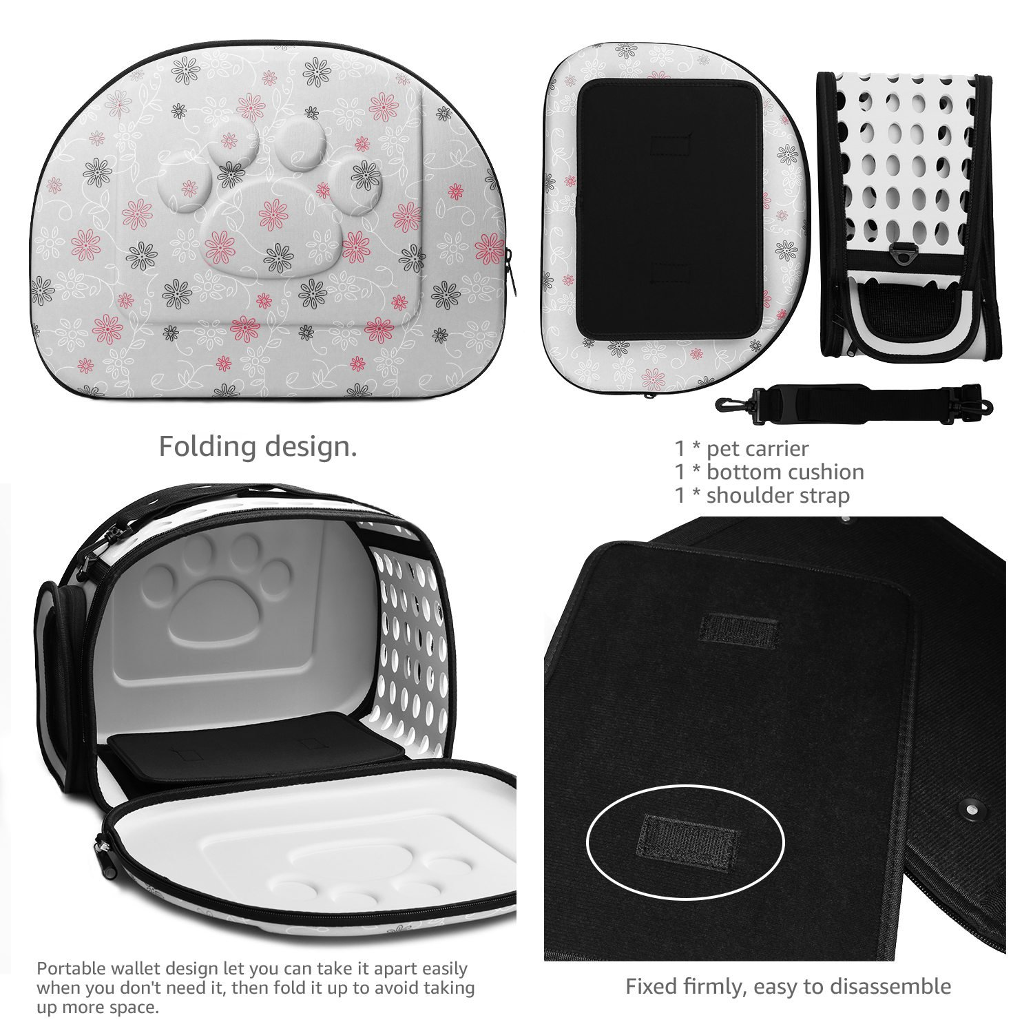 CORALTEA EVA Cute Portable Collapsible for Pets of Medium Size Cats & Dogs Airline Approved Outdoor Under Seat Travel Pet Carrier Soft Sided Puppy Bag (gray) by Coraltea (Image #6)