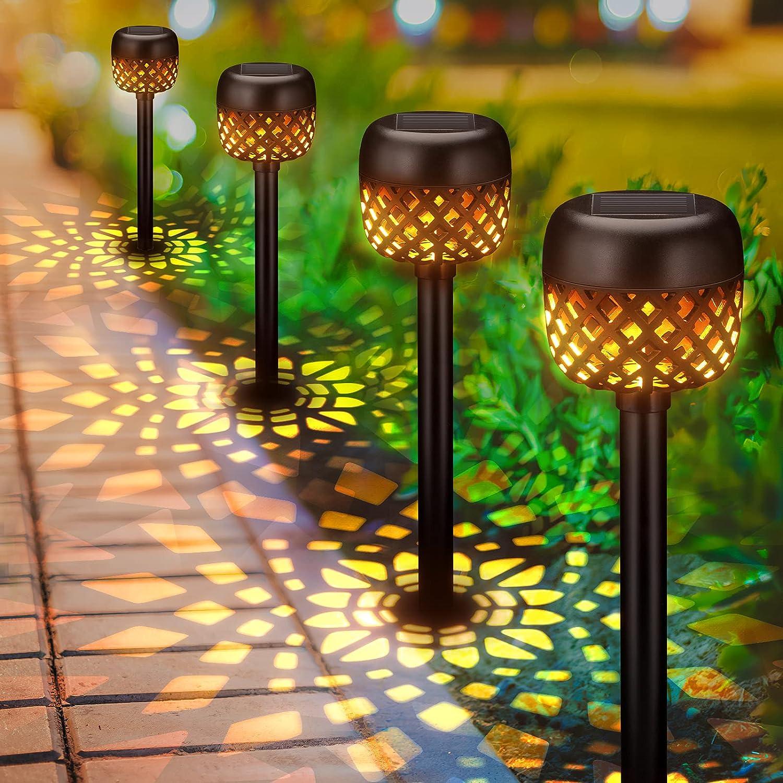 Solar Lights Outdoor Decorative, BONLION 6 Pack Solar Pathway Lights Outdoor, Waterproof LED Garden Lights Solar Powered, Landscape Lights for Pathway, Walkway, Patio, Lawn, Yard