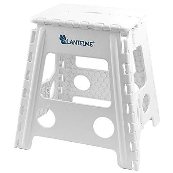 Lantelme Klapphocker faltbar weiß Hocker Kunststoff Sitz Tritthocker für Arztpraxis geeignet Sitzhocker Höhe 40 cm 4784