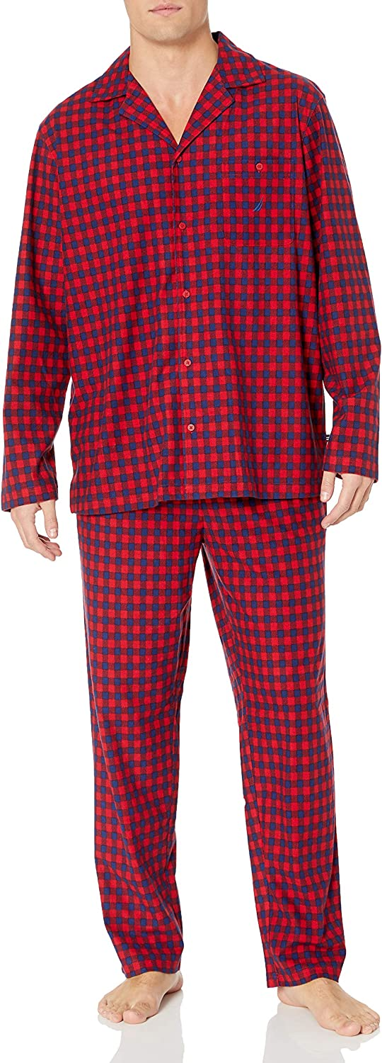 Nautica Mens Cozy Fleece Plaid Pajama Set