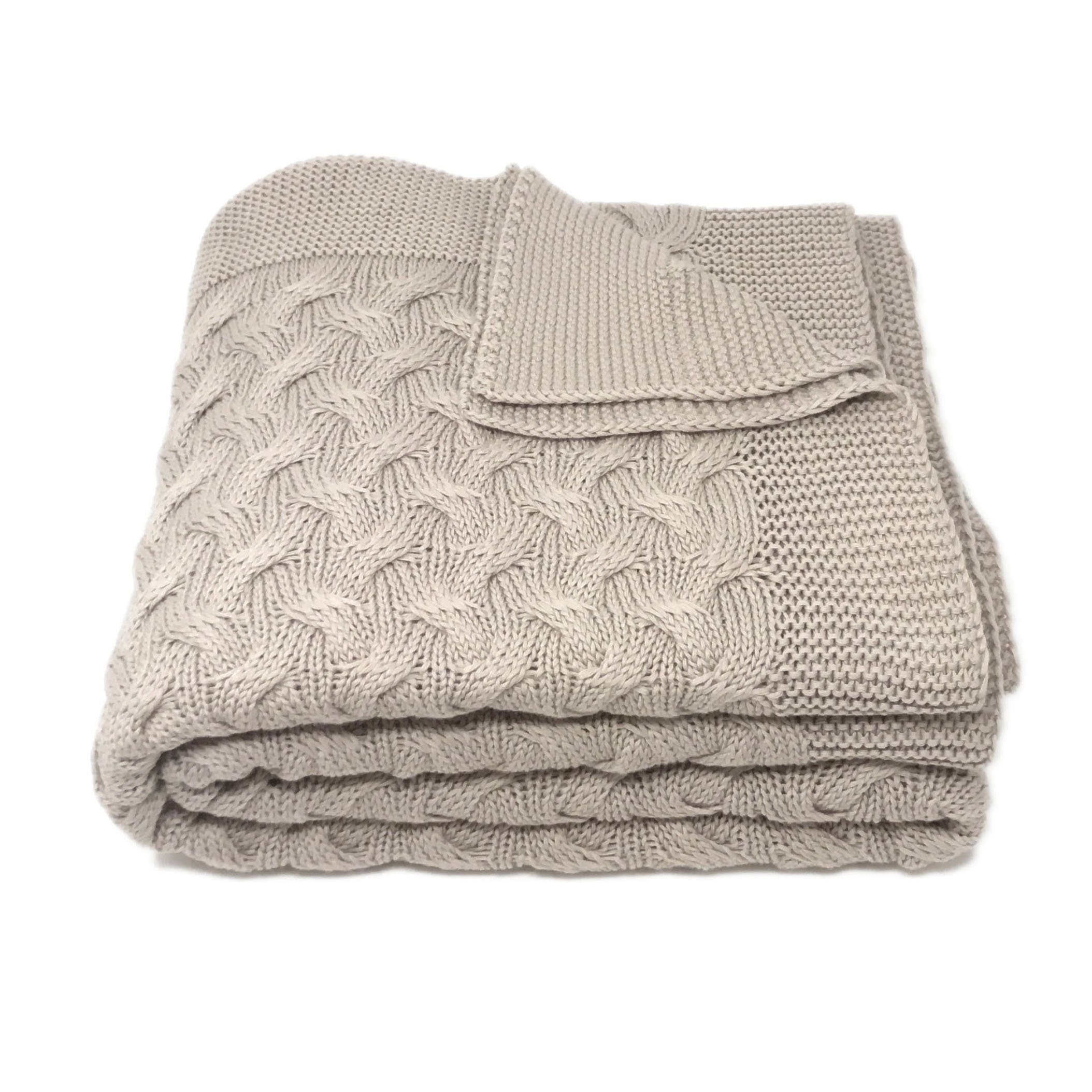 Soft 100% Cotton Throw Blanket, Knit Crochet Sweater Texture, for Couch Sofa Bed, Taupe Stone Neutral 51 x 67 Inch