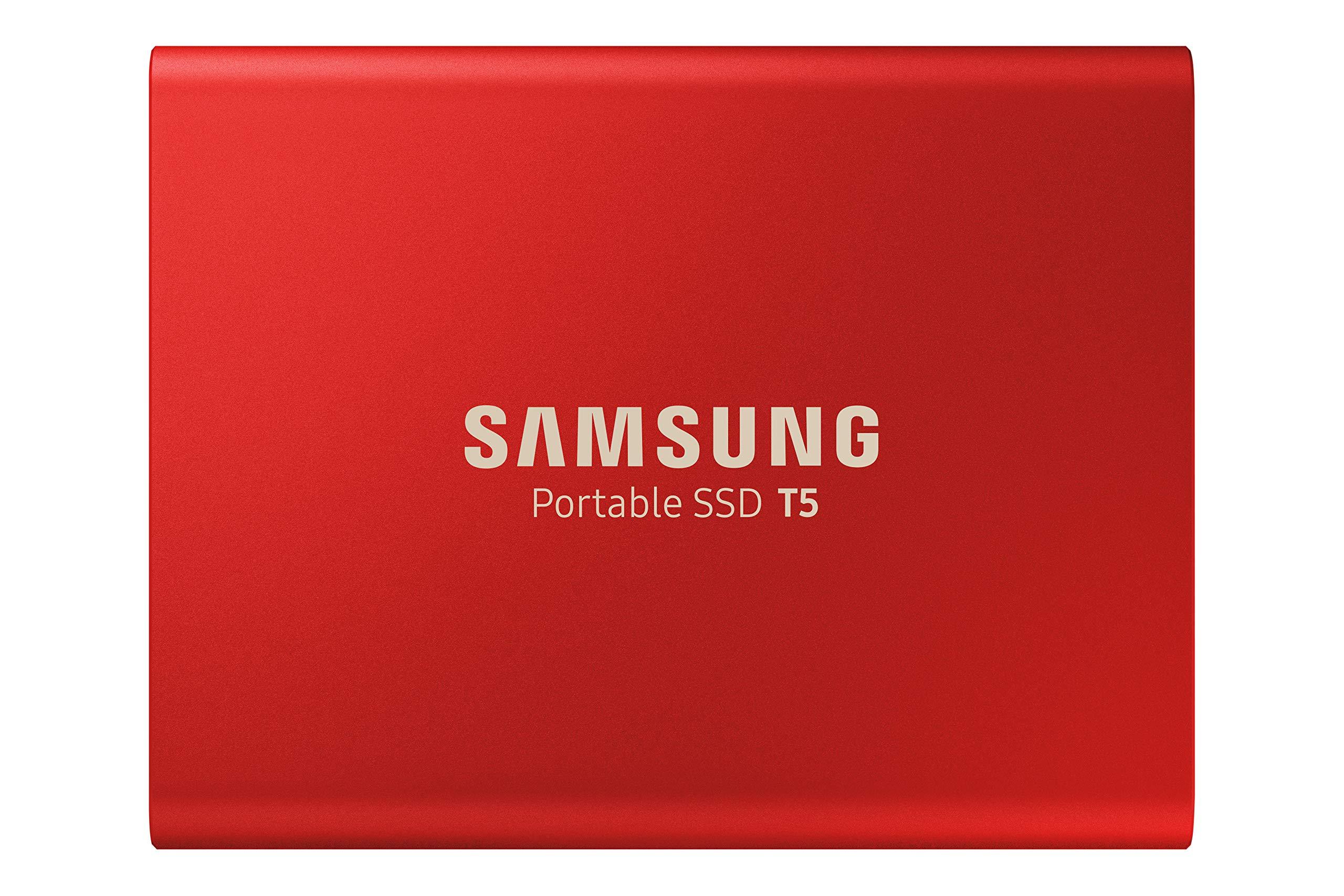 Samsung T5 Portable SSD - 500GB - Metallic Red - USB 3.1 External SSD (MU-PA500R/WW)