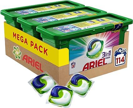 Ariel 3en1 Pods, Detergente en Cápsulas, Colour & Style, 114 ...
