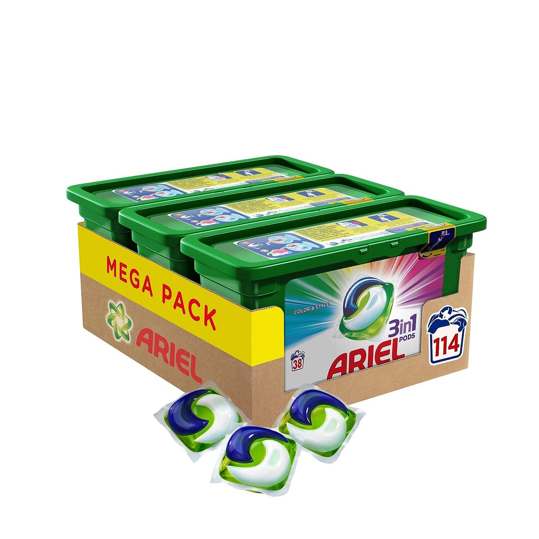 Ariel 3 en1 Pods - Detergente color  en cápsulas superconcentrado, Limpia y mantiene el brillo del color, 114 Lavados (3 x 38)