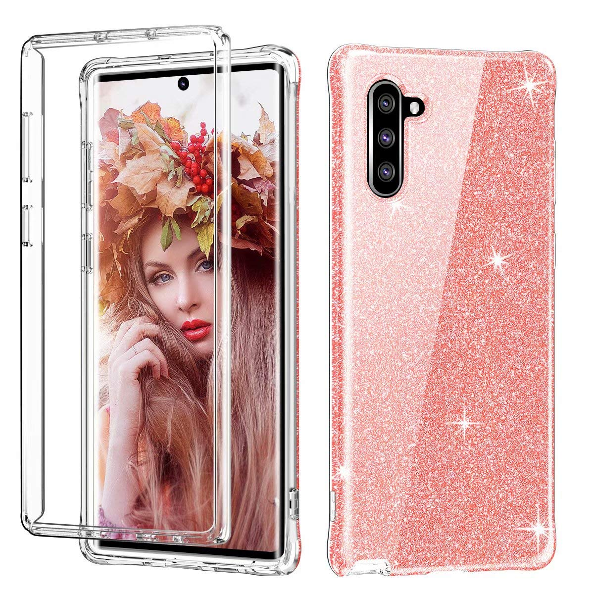 Galaxy Note 10 Case, Ranyi Full Body Protective Crystal Transparent Cover Hybrid Bumper [Supported Wireless Charging] Shock Absorbing Flexible Resilient TPU Case for Samsung Galaxy Note 10 (Pink) by Ranyi