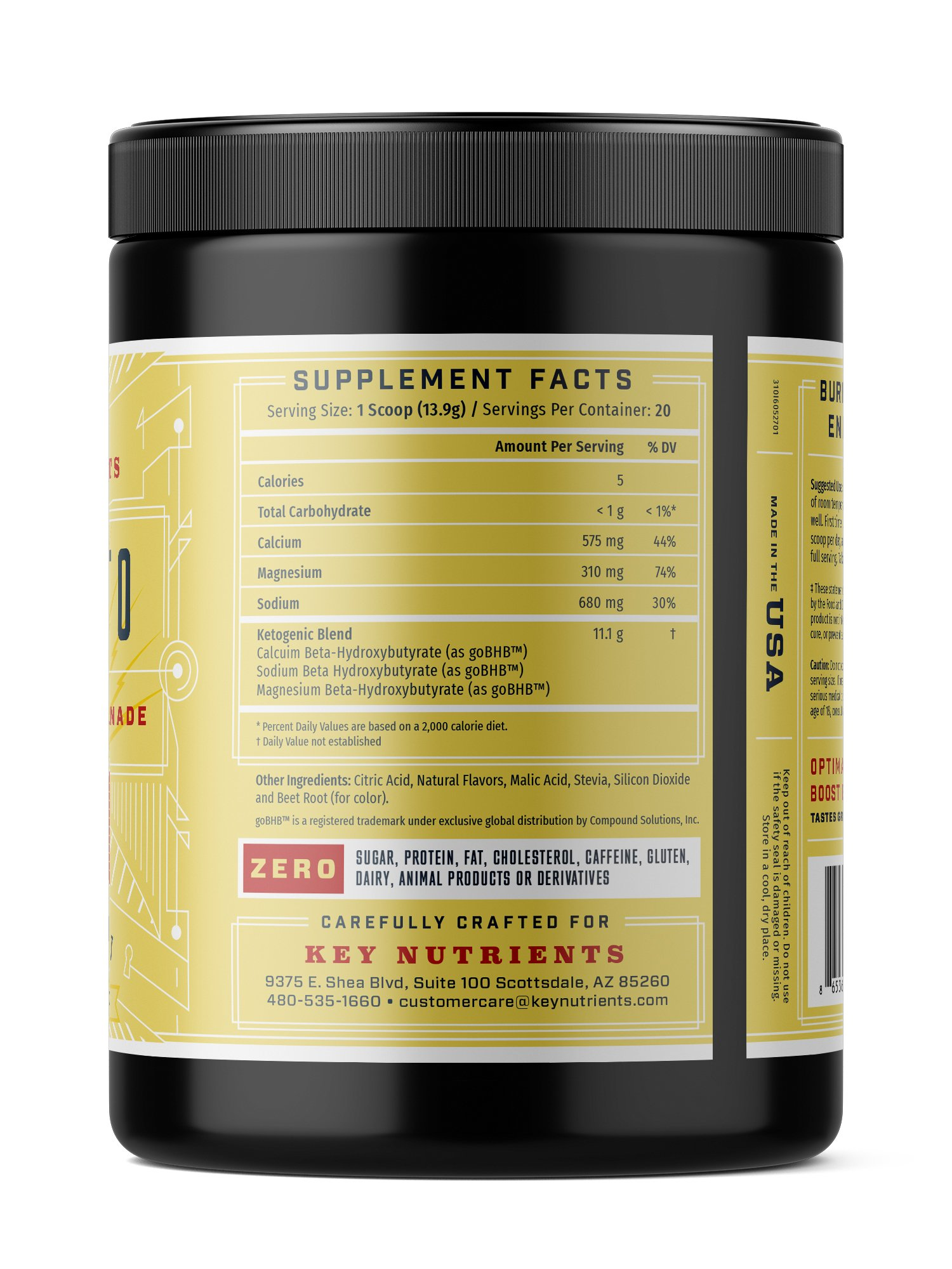 Exogenous Ketone Supplement, KEY KETO: Patented BHB Salts (Beta-Hydroxybutyrate) - Formulated for Ketosis, to Burn Fat, Increase Energy and Focus, Supports a Keto Diet. Strawberry Lemonade (278g) (20) by Key Nutrients (Image #2)