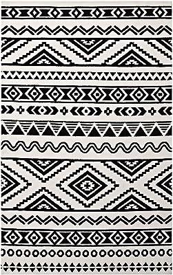 Modway R-1010A-810 Haku Geometric Moroccan Tribal Area Rug, 8X10, Black White