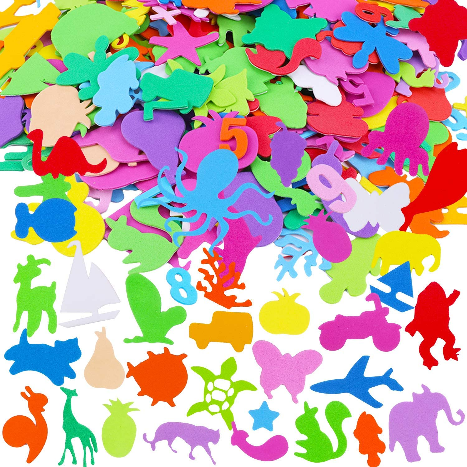 Arts and DIY Projects Cards Foam Sealife Fruit Cars Insects Numbers Animal Shape Stickers Puffy Scrapbook Stickers for Kids Crafts HOWAF 430 Pack Self Adhesive Foam Sticker for Children Crafts