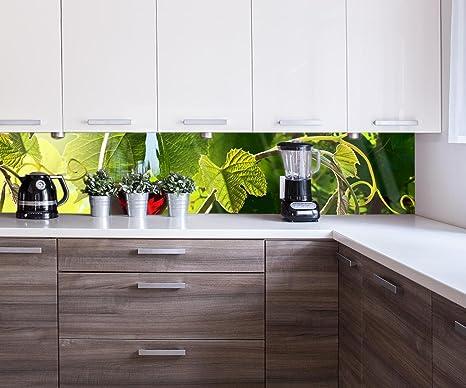 wandmotiv24 Küchenrückwand Glas mit Rotwein im Weinberg 260 ...