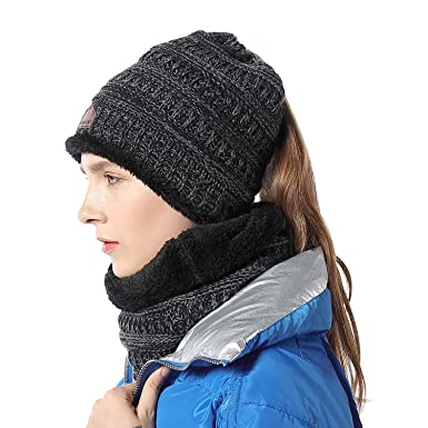 Image Unavailable. Image not available for. Color  Ponytail Messy Bun  BeanieTail Soft Stretch Cable Knit Hat Scarf Set Winter Women Beanie ... cd5106f5fee3
