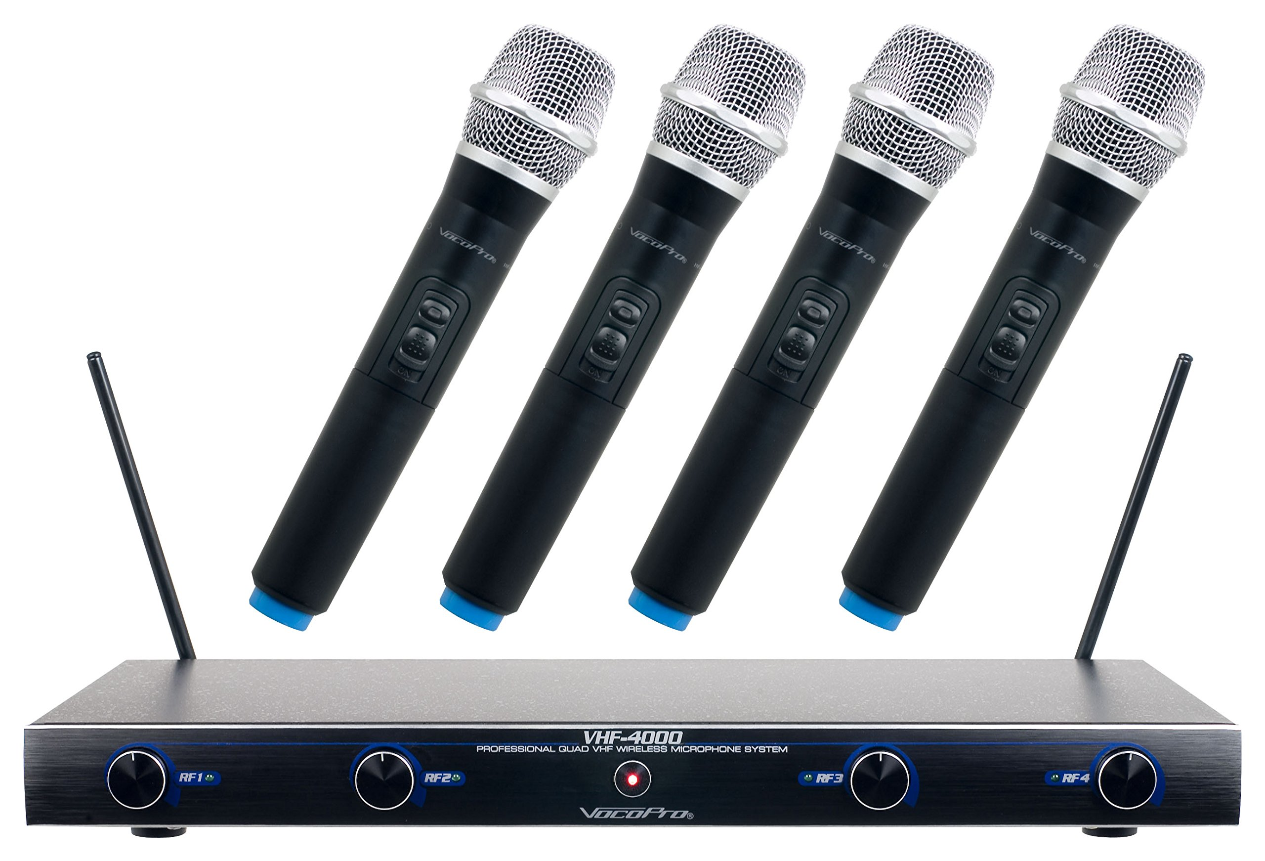 VocoPro VHF4000 Professional Quad VHF Wireless Microphone System