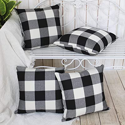 Gysan Buffalo Check Plaid Pillow Covers Set of 4 Black and White Outdoor Throw
