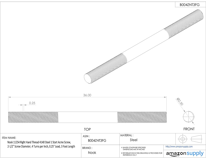 0.1 Lead 10 Turns per Inch 3 Foot Length Helix 11150 Right Hand Thread 4140 Steel 1 Start Acme Screw 1-1//2 Screw Diameter