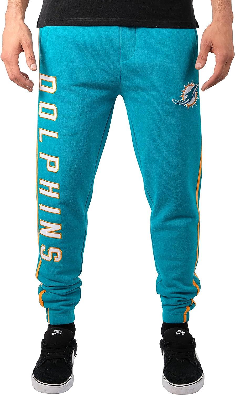 X-Large Team Color Stripe Ultra Game NFL Miami Dolphins Mens Jogger Pants Active Basic Fleece Sweatpants