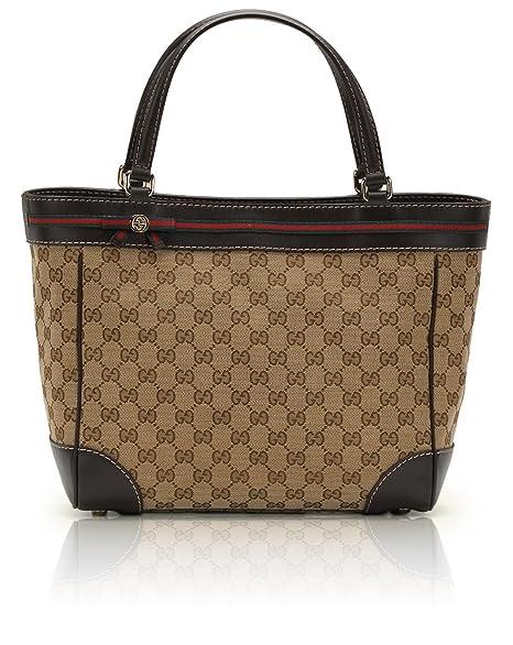 f6ffe04c0669 Gucci Mayfair Original GG Fabric Bow Detail Tote [Biege/Ebony w/ Brown  Trim] (257061): Amazon.ca: Luggage & Bags