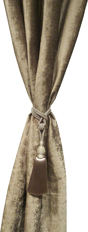 """Elrene Home Fashions Julia Rhinestone Tassel Curtain Tieback, 26"""", Taupe"""