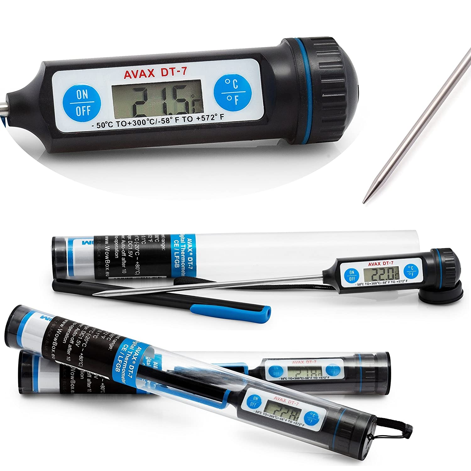 AVAX DT-7 - Digital LCD Food Thermometer Kitchen Cooking Probe for Wine, Food, Meat, Steak, Turkey, BBQ, Yerba Mate, etc. - Temperature range: -50C to 300C / -58F to 572F - (tube packaging and a protective cap included for better protection) - Battery Inc