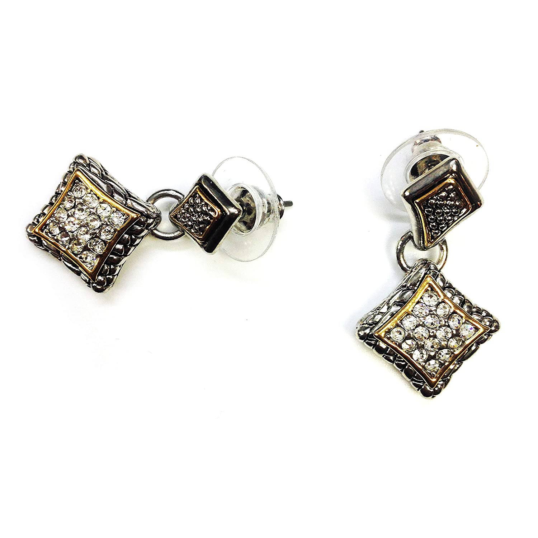 T J Magic Two Tone Rhodium Plated Clear Crystal Pave Center Rhombus Diamond Shape Dangle Drop Push Earrings