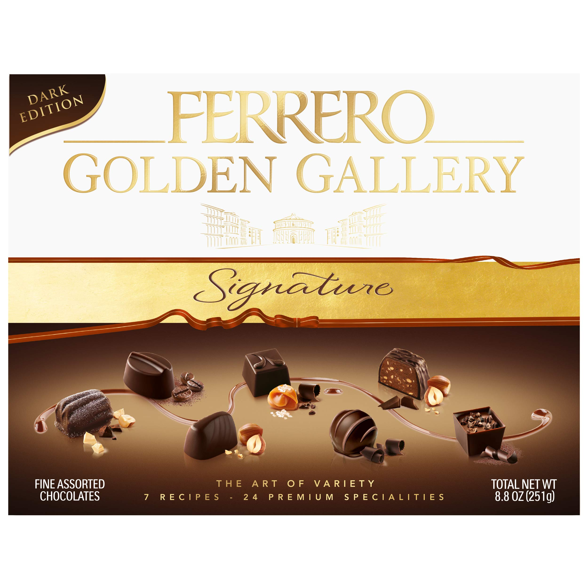 Ferrero Golden Gallery Dark, Signature Fine Assorted Chocolates, Candy Gift Box, 24 Count, 8.4 oz (240g)