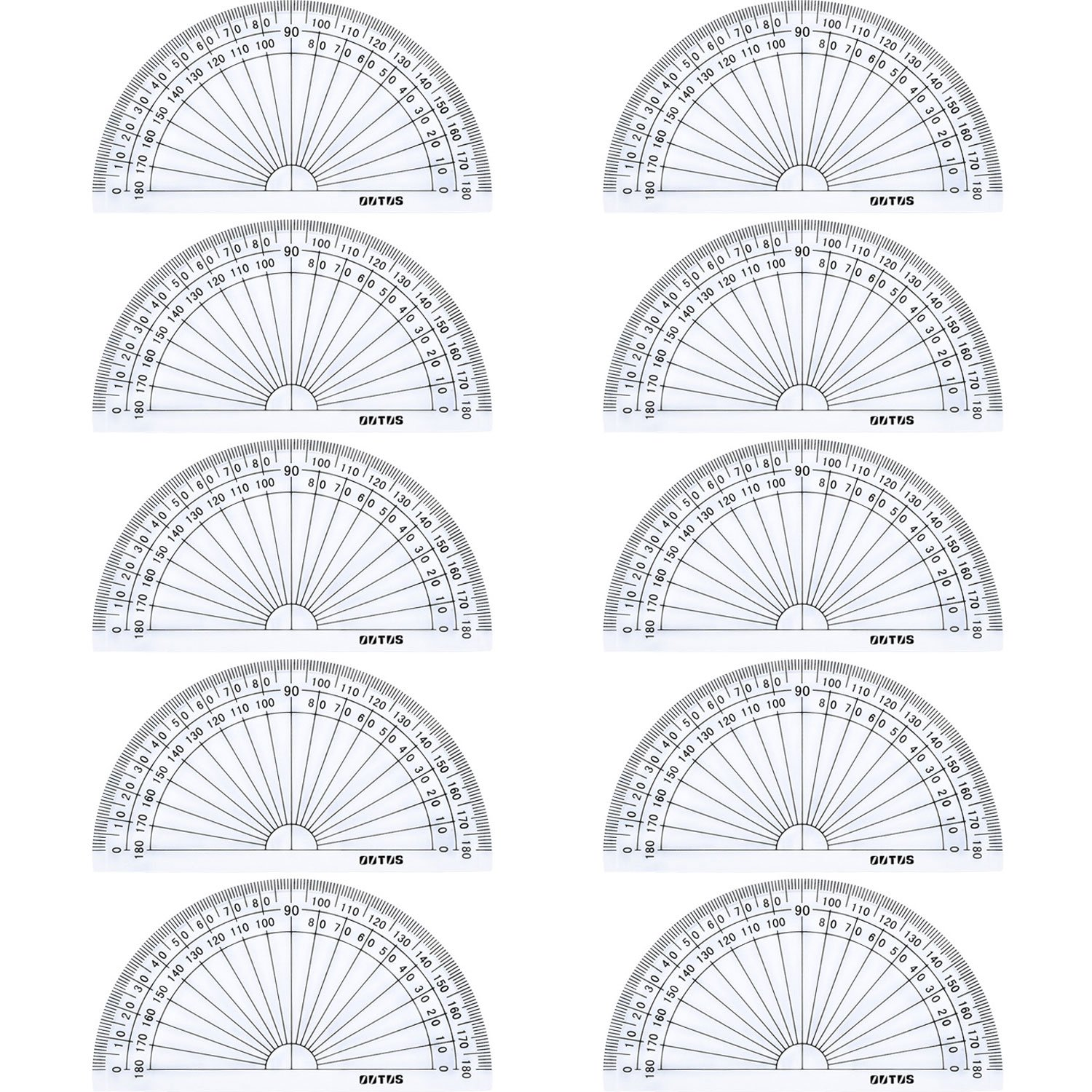 Outus Plastic Protractor for Angle Measurement Student Math 180 Degrees, 4 Inches, Clear, 10 Pack