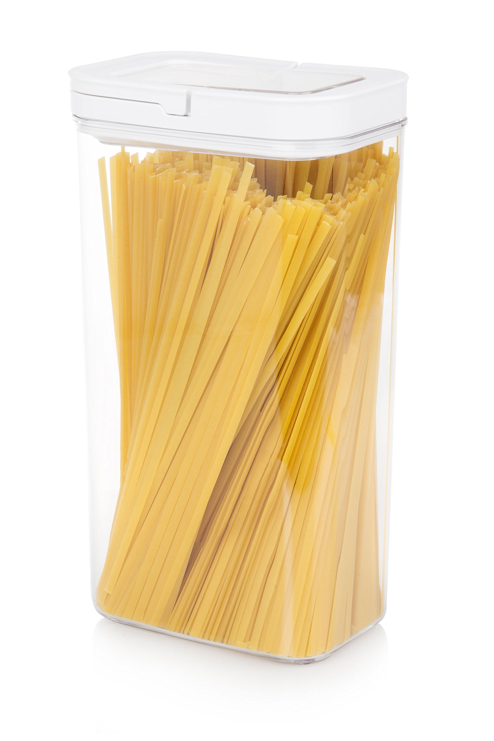 Airtight Food Storage Container - Extra Large 3600ml Stackable Canister for Cereal, Flour, Sugar, Rice, Pasta and More - Organization for Drawers or Pantry - Air Tight Seal with Clear Lid - BPA-Free
