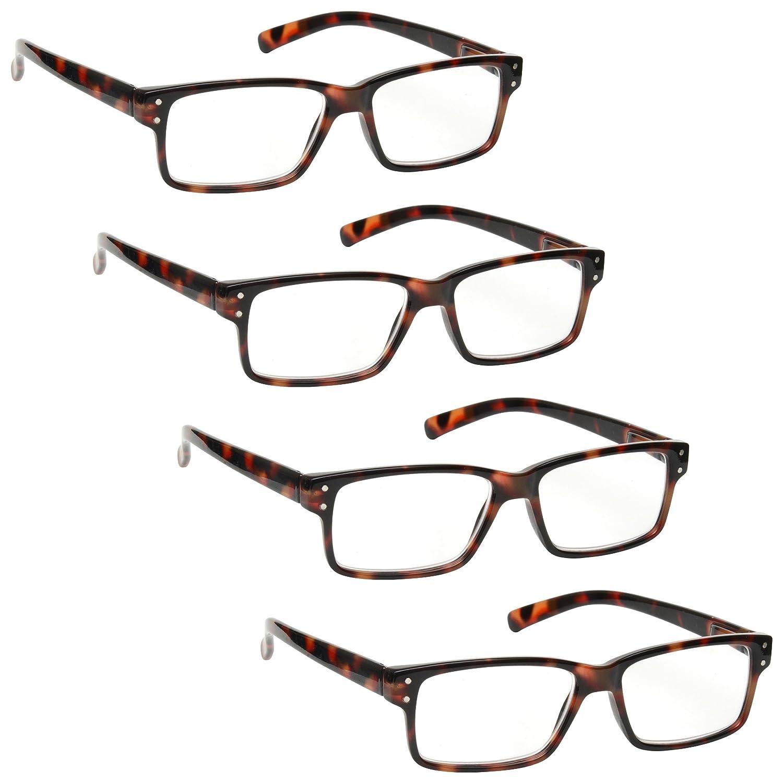 La Compañía Gafas De Lectura Carey Marrón Lectores Valor Pack 4 Hombres Mujeres Bisagras Resorte RRRR45-2 +2,00