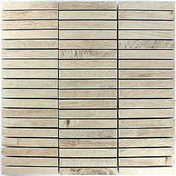 Mosaikfliesen Loures Holzoptik Beige | Wandfliesen | Mosaik Fliesen |  Glas Mosaik | Fliesen