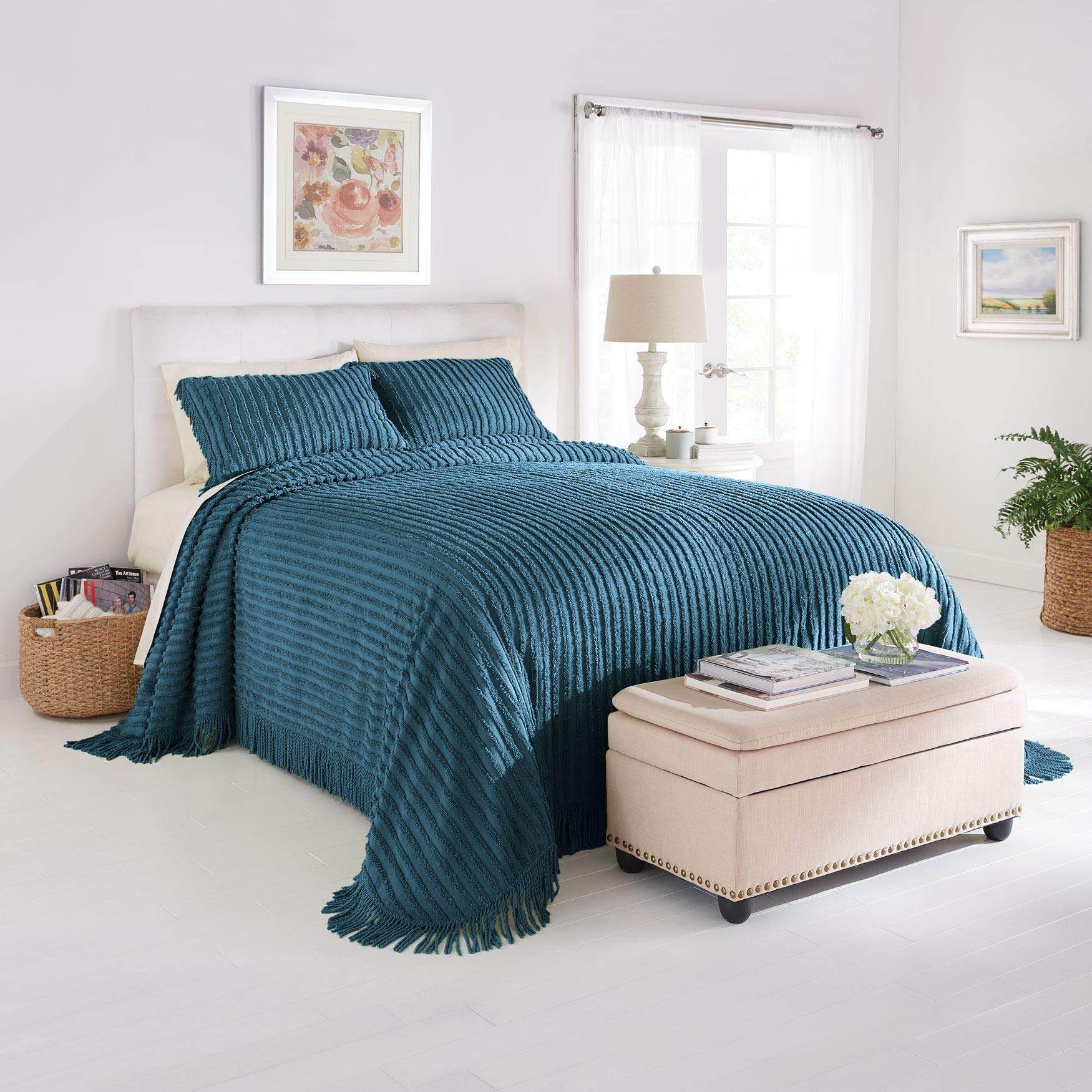 BrylaneHome Chenille Bedspread - Antique Blue, King