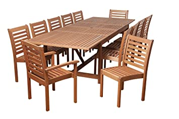 Amazonia Pensacola 13 Piece Eucalyptus Extendable Rectangular Dining Set