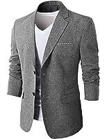 H2H Mens Slim Fit Suits Casual One Button Flap Pockets Solid Linen Blazer Jacket