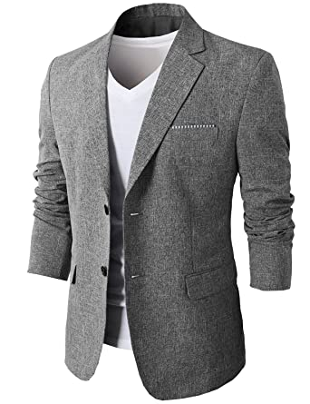 fabc1fe9e2 H2H Mens Notch Lapeled Smart Casual Linen Blazer Gray US XS/Asia M  (KMOBL0107