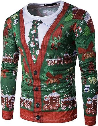 GHYUGR Hombre Camiseta de Navidad Manga Larga Ties Santa Snow Impreso Tops Camisa T-Shirt Otoño Invierno, Verde, L: Amazon.es: Ropa y accesorios