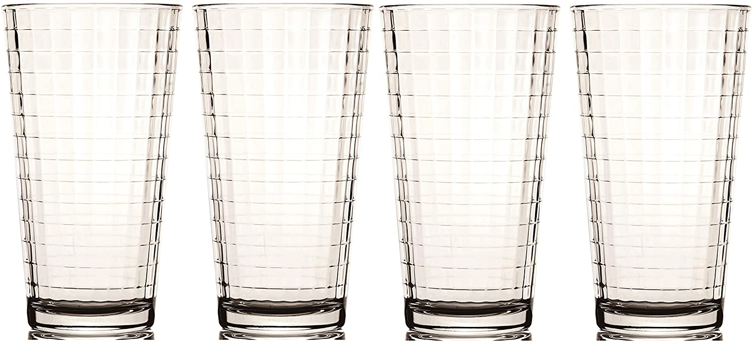 Circleware Windowpane Drinking Glasses, 17 Ounce, Set of 4 55512