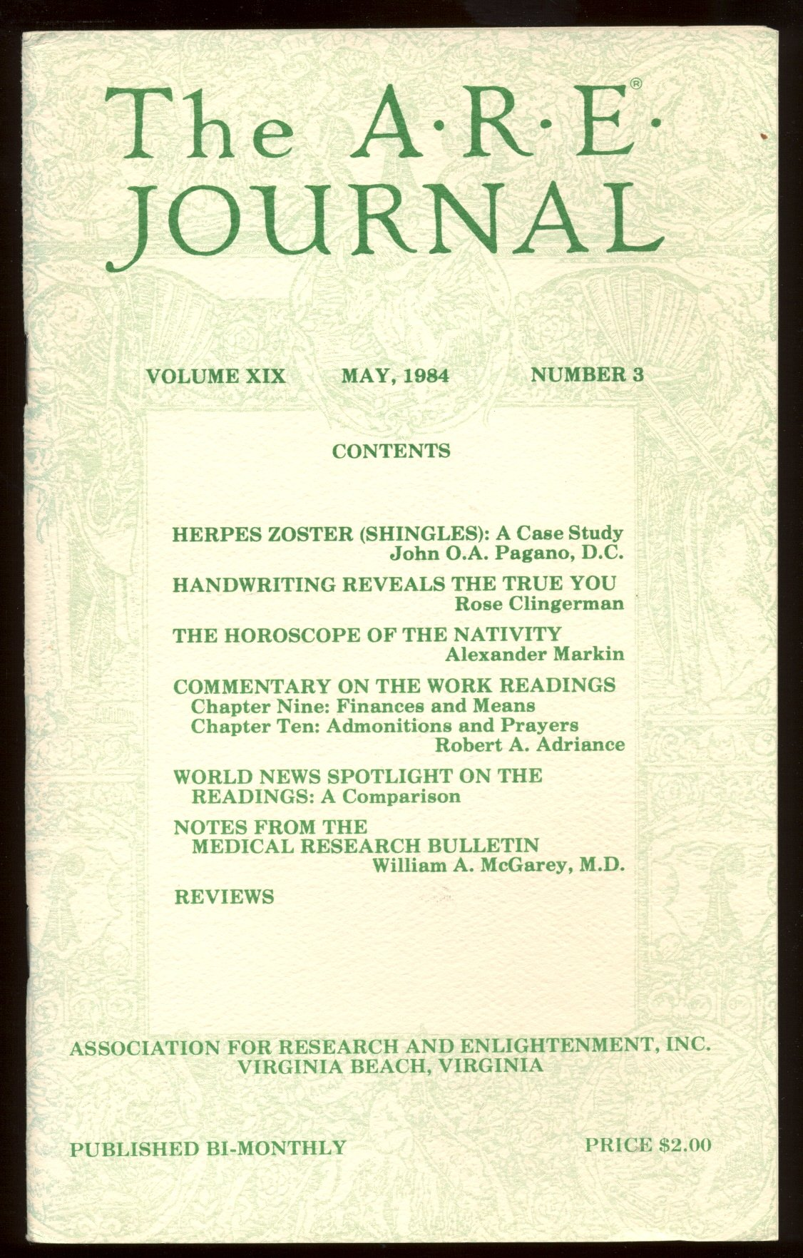 The A R E  Journal - Volume 19 Number 3, May, 1984: Various