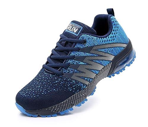 AZOOKEN Hombre Mujer Zapatillas de Gimnasia Running Zapatos Deportivos Aire Libre y Deporte Respirable Sneakers para
