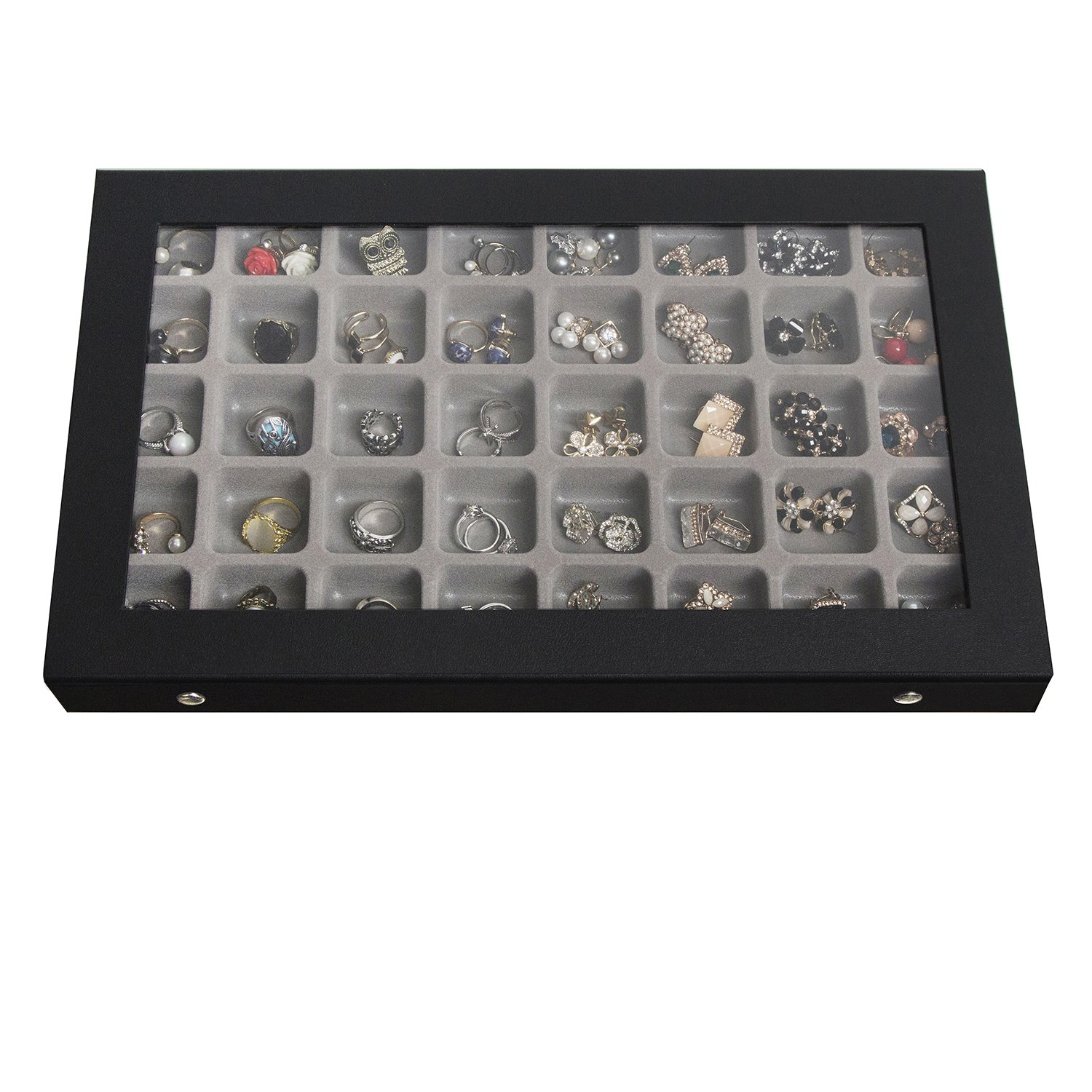 JackCubeDesign 40 Compartments Jewelry Display Tray Showcase Organizer Storage Box Slots Holder for Earring, Ring with Acrylic Cover(Black, 16.97 x 9.7 x 1.65 inches) – :MK333A