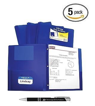 C-Line Two-Pocket Heavyweight Poly carpeta con dientes, para documentos de tamaño carta, incluye tarjetero Carteras, 5 unidades), varios colores: Amazon.es: ...