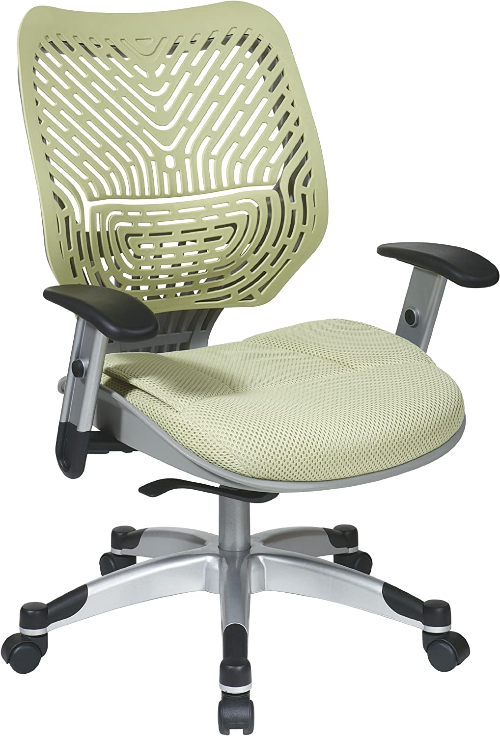 SPACE Seating REVV Self Adjusting SpaceFlex Kiwi Backrest Support and Padded Kiwi Mesh Seat with Adjustable Arms and Platinum Finish Base Managers Chair