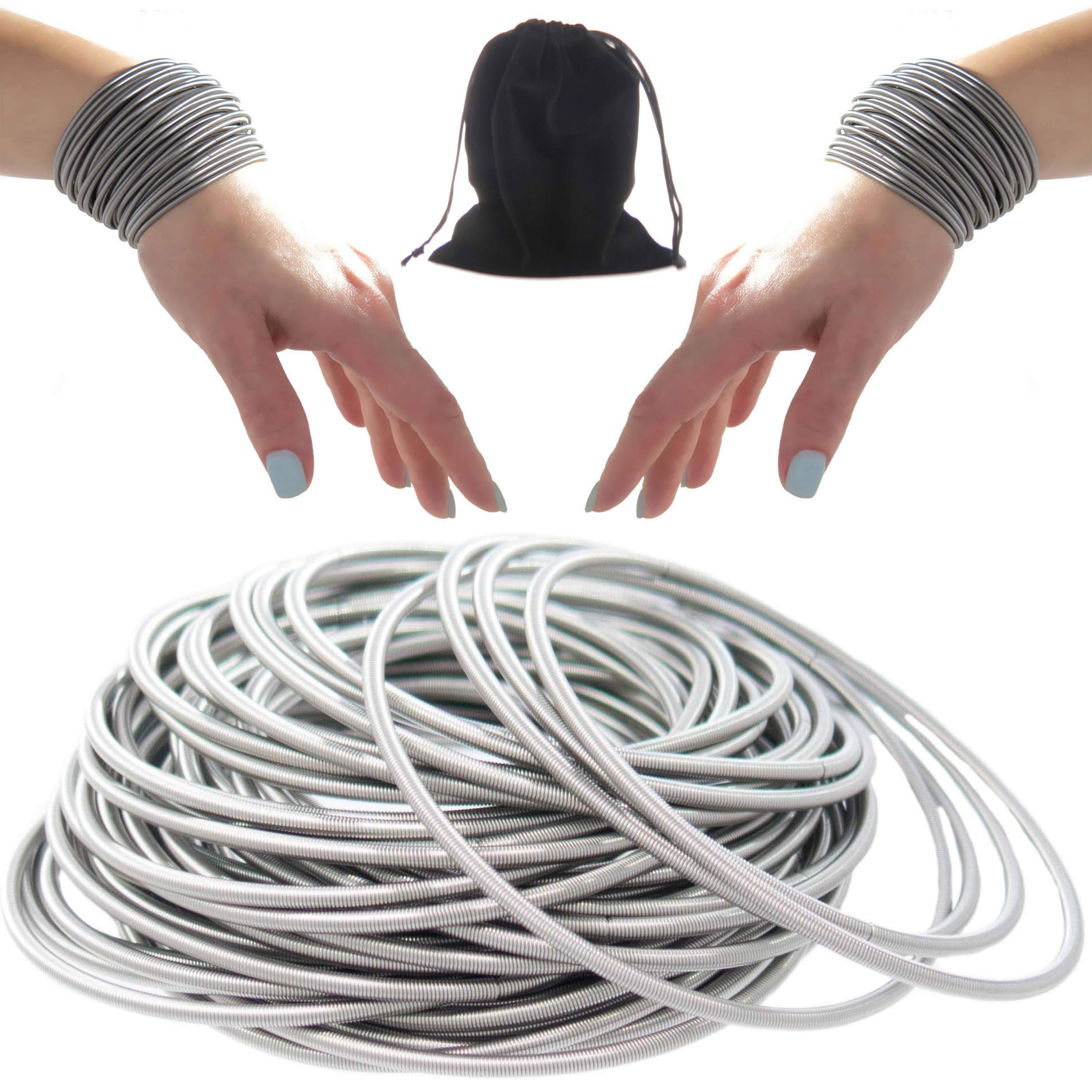50 PCS Silver Guitar String Bracelet Set, Womans Coil Bracelets, Stackable Stainless Steel Jewelry Bracelets in Velvet Pouch for Women, Spiral Fashion Bangles