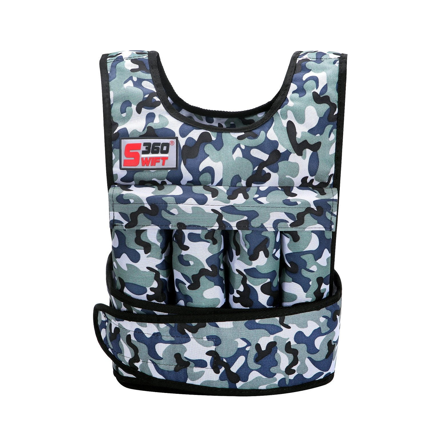 Swift360 Weighted Vest for Men 20 40lbs Adjustable Female Fitness Gear Cross-fit Training Exercise Camouflage Black