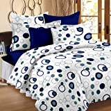Story@Home Magic 152 TC Cotton Double Bedsheet with 2 Pillow Covers - Blue