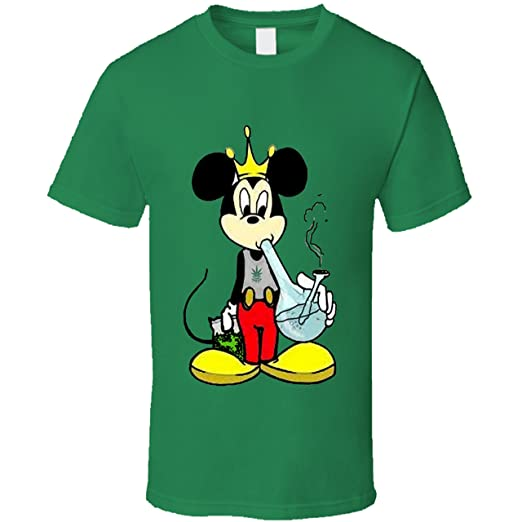 Mickey Mouse Weed Cannabis 420 Stoner Shirt (Small, Green)