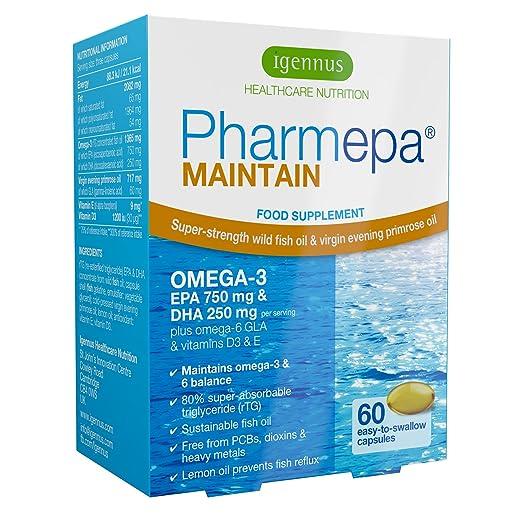 Pharmepa MAINTAIN - Omega-3 EPA y DHA aceite de pescado salvaje, con GLA y Vitamina D3, 750 mg EPA y 250 mg DHA por porción, 60 cápsulas: Amazon.es: ...