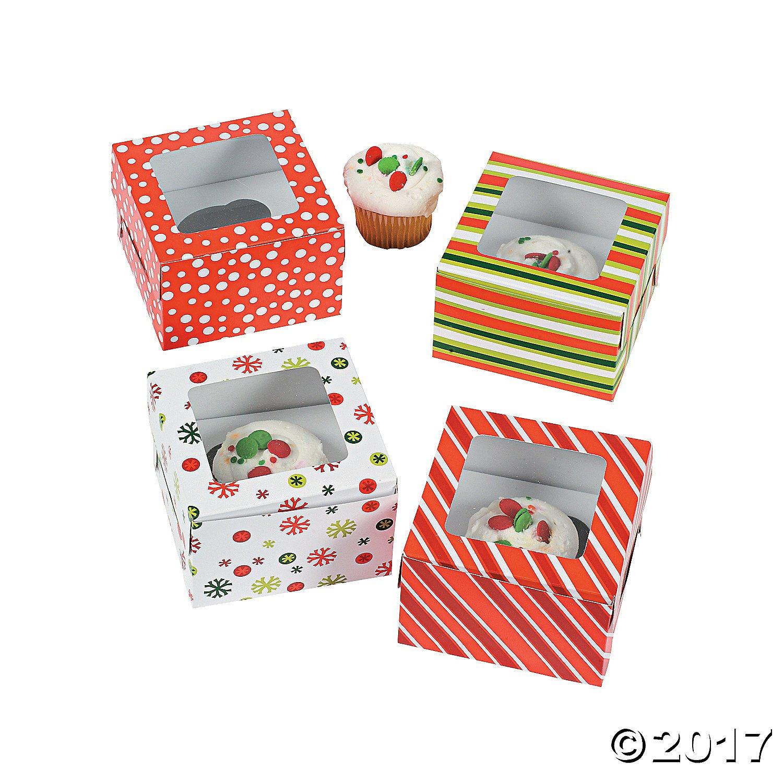 SET OF 12 STRIPED & SNOWFLAKE CUPCAKE BOXES with Insert - 4 FUN DESIGNS - 4.5' x 4.5' x 3' Fun Express